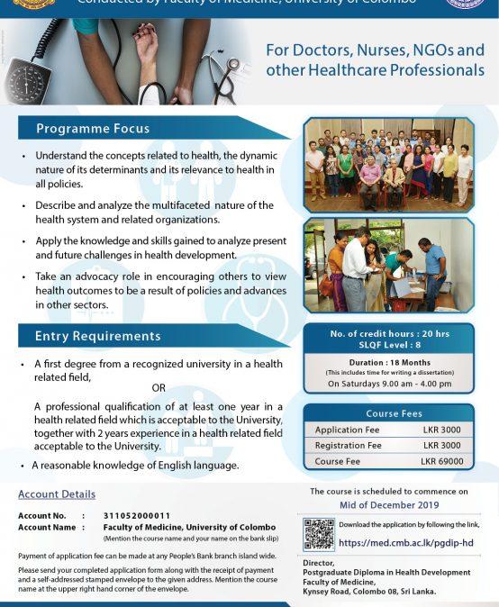 Post Graduate Diploma in Health Development