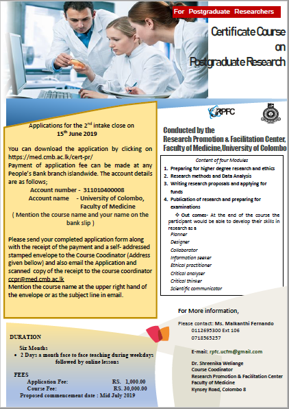 Certificate Course in Postgraduate Research