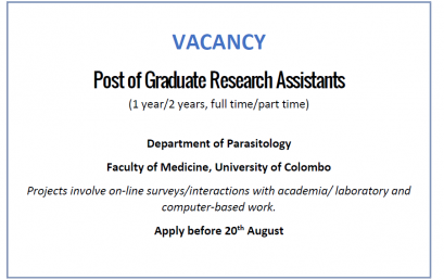 Post of Graduate Research Assistant – Department of Parasitology