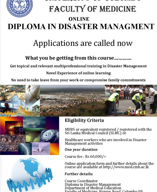 Online Diploma Course in Disaster Management – New Intake 2019