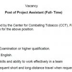Post of Project Assistant  – CCT