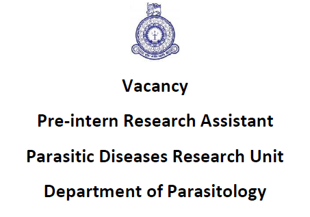 Pre-intern Research Assistant, Department of Parasitology