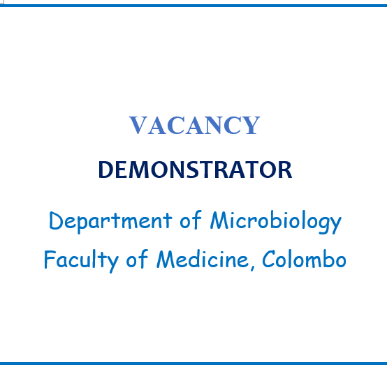 Post of Demonstrator, Department of Microbiology