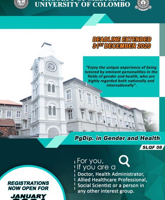 Postgraduate Diploma in Gender & Health (Deadline Extended – 31st December 2020)