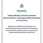 Vacancy – Research Assistant –Entomology and Molecular Biology (on contract basis), Faculty of Medicine, University of Colombo.