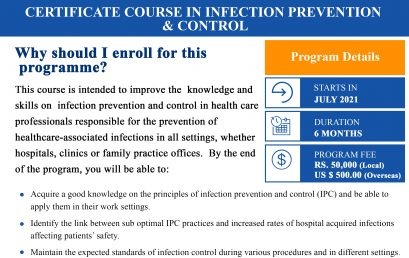 Certificate course in Infection Prevention & Control