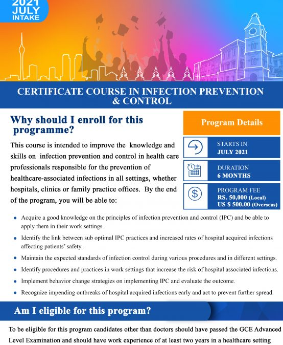 Certificate course in Infection Prevention & Control (Deadline Extended till – 14th May 2021)