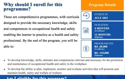 Certificate / Diploma in Occupational Health and Safety