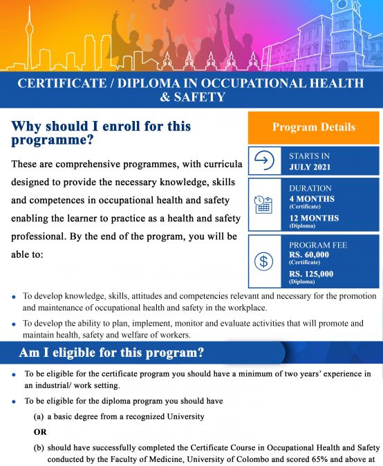 Certificate / Diploma in Occupational Health and Safety (Deadline Extended till – 14th May 2021)