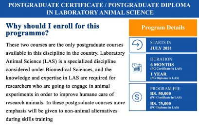 Postgraduate Certificate/ Postgraduate Diploma in Laboratory Animal Science (Deadline Extended till – 14th May 2021)