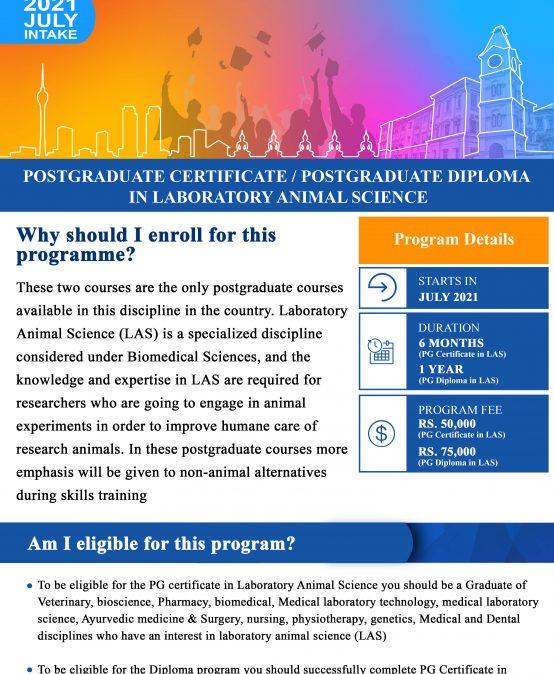Postgraduate Certificate/ Postgraduate Diploma in Laboratory Animal Science (Deadline Extended till – 14th May 2021)