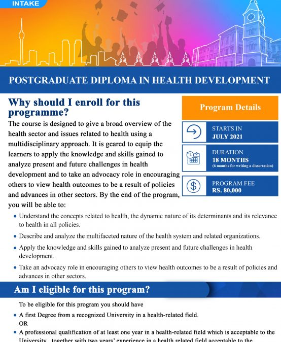 Postgraduate Diploma in Health Development (Deadline Extended till – 14th May 2021)
