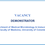 VACANCY –  POST OF DEMONSTRATOR In the Department of Medical Microbiology & Immunology, Faculty of Medicine, Colombo
