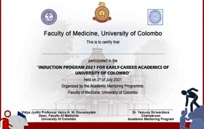 """Certificates – """"Induction Program 2021 for Early-career Academics of University of Colombo"""""""